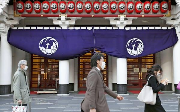 3月は歌舞伎座公演も中止になった。エンタメ産業への打撃は大きい