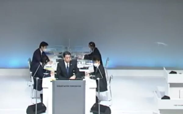29日、ライブ中継された日産自動車の株主総会