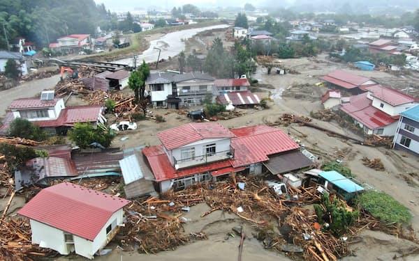 台風19号で大きな被害を受けた住宅地(2019年10月、宮城県丸森町)