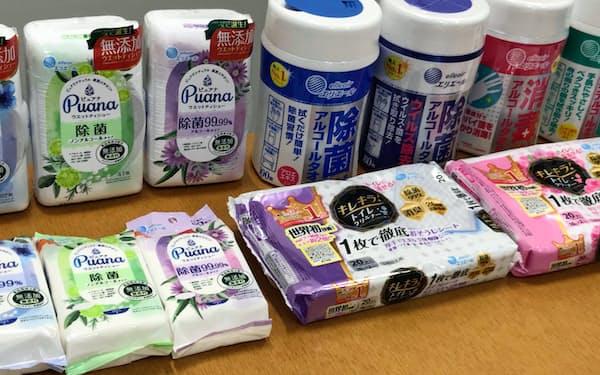 ウエットティッシュは除菌99%以上をうたう商品が多い