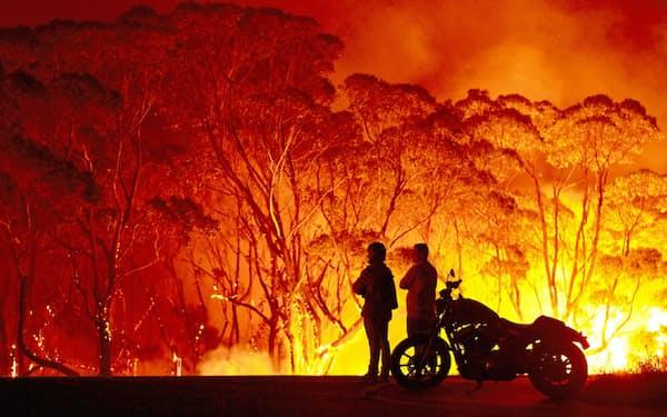豪州では2019年9月ごろから大規模な森林火災が相次ぎ発生した(ニューサウスウェールズ州レイクタブーリー)=ゲッティ共同