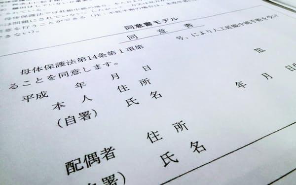 日本産婦人科医会が作成した中絶手術の同意書のひな型