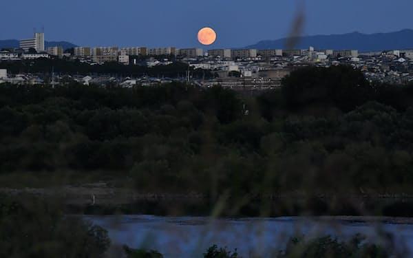 複数の河川が合流した淀川から望む中秋の名月。読者は男が物語る追憶の世界へといざなわれる(高槻市)=笹津敏暉撮影