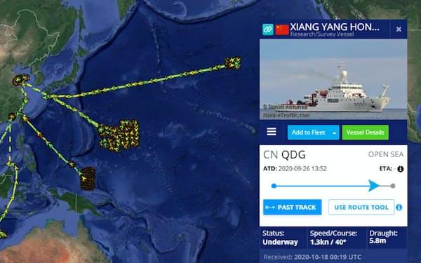 世界の船舶情報を公開するマリントラフィックで中国の海洋調査船「向陽紅01号」が過去1年にたどった航跡を追った