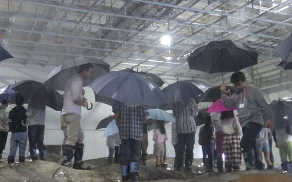 琵琶湖北岸の地形を再現した雨水流出実験装置