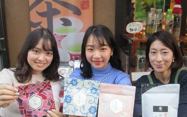 学生らでパッケージのデザインも手掛けた(東京都渋谷区の「椿宗善」広尾店)
