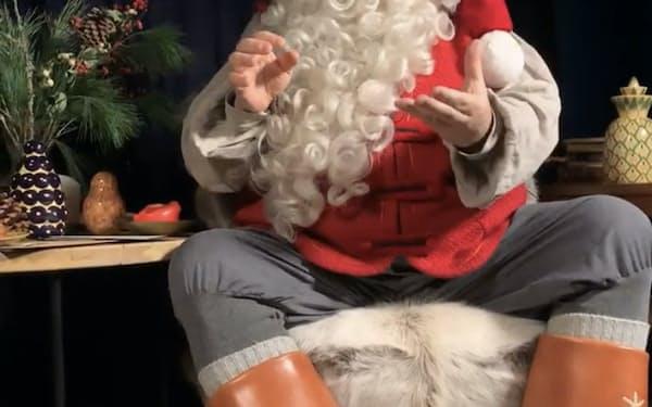 サンタクロースはインスタライブを配信=フィンランド政府観光局提供