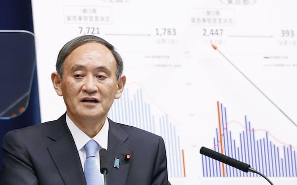 都の感染者数の推移を示すグラフを背に記者会見する菅首相(2日、首相官邸)