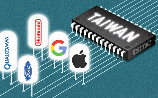 ハイテク大手に半導体を供給するTSMCが世界の焦点に イラスト=マイケル・ツァン