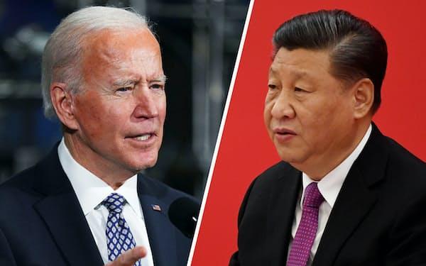 バイデン米大統領(左)と中国の習近平国家主席は初の電話協議でも台湾問題で対立した=いずれもロイター