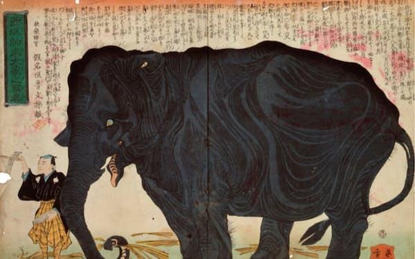 幕末の象を描いた錦絵「西域舶来大象之写真」(1863年)=国立劇場蔵