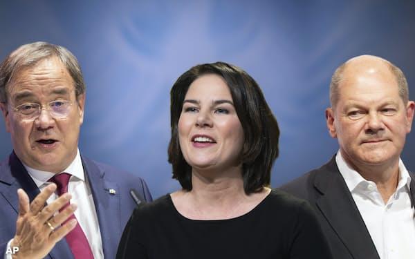 ドイツの9月の総選挙では緑の党の期待の星である40歳女性の共同党首ベーアボック氏(中)が、勢いを失って久しいCDUのラシェット党首(左)とSPDのショルツ財務相を相手に戦うことになる=AP