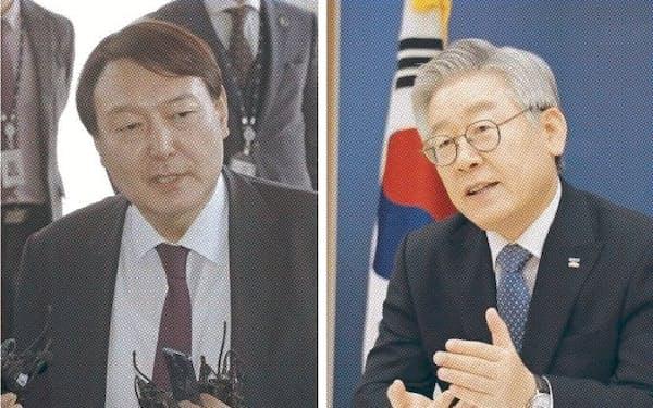 国政経験がない尹氏(左)と李氏に期待が集まる=聯合・共同