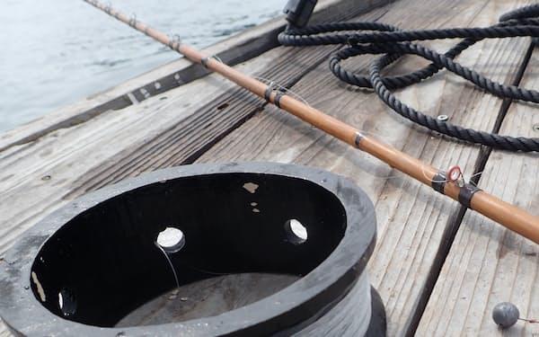 竹竿と糸巻き