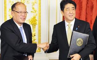 共同宣言に署名した安倍首相とアキノ大統領(4日、東京・元赤坂の迎賓館)