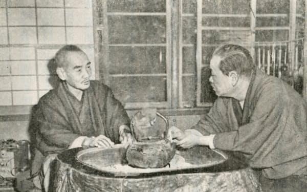 三木武吉(左)と広川弘禅=御手洗辰雄著「三木武吉伝」より
