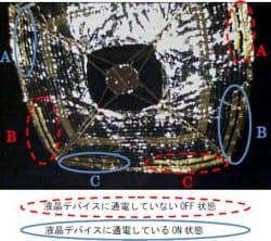 宇宙ヨット「イカロス」の画像。点線で囲った部分は液晶素子の電源がオフに、実線の部分はオン状態になっていることが確認できるという=JAXA提供