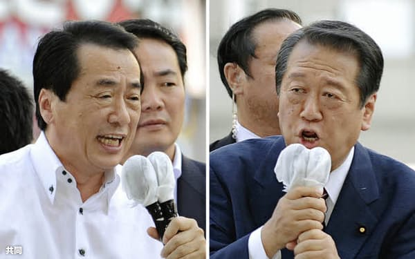 民主党代表選で街頭演説を行う菅首相(左)と小沢前幹事長=5日午後、大阪市北区(共同)