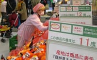 果物売り場では糖度を表示する値札などが目立つ(イトーヨーカドー大森店)