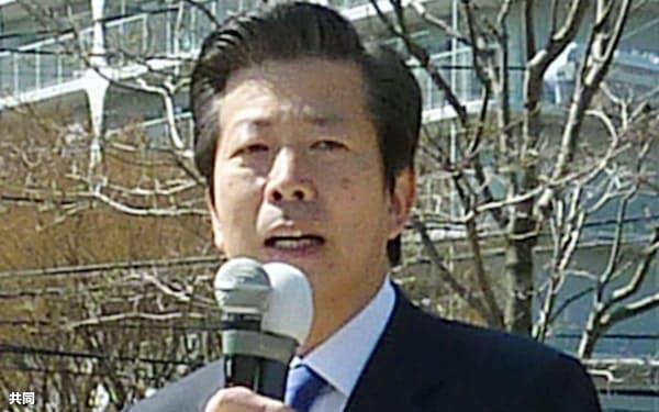 41道府県議選などが告示され、埼玉県川口市で演説する公明党の山口代表=1日午前