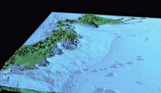 平安時代の大地震によっておきた大津波「貞観津波」のシミュレーション画像。垂直方向のスケールは誇張されている(産業技術総合研究所提供)