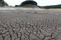 地震で堤防が決壊し、干上がった藤沼湖。田植え前で湖水位が高かったのも要因の一つに考えられるという(5月14日、福島県須賀川市)=写真 瀬口蔵弘