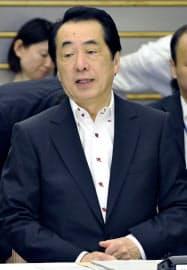 東日本大震災復興構想会議に臨む菅首相(4日午後、首相官邸)=共同