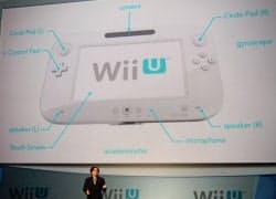家庭用ゲーム機の新製品「Wii U」を発表する任天堂の岩田聡社長(7日、米ロサンゼルス)