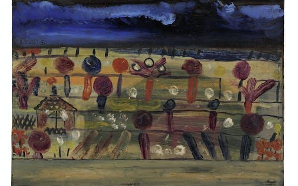 「平原の庭II(園亭のある)」(1920年、18.5×25.5センチ、紙に油彩、厚紙に貼り付け、個人蔵、パウル・クレー・センター寄託)