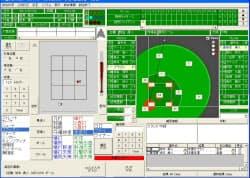 「ベースボールアナライザー」の入力画面。この画面で1球ごとのプレー内容を入力する。本文冒頭と画面内の試合経過は架空のもの