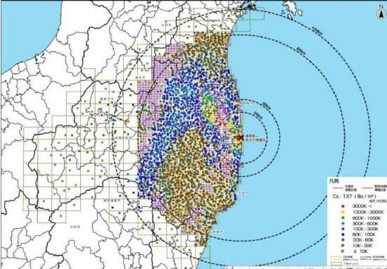 文科省が公表した土壌の放射性物質濃度マップ(セシウム137)