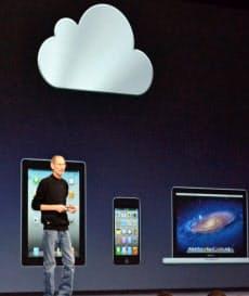 新サービス「iCloud」を発表したアップルのジョブズCEO(6月6日)=共同