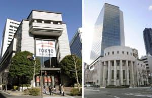 2012年10月をめどに経営統合することで合意した東京証券取引所(左)と大阪証券取引所=共同