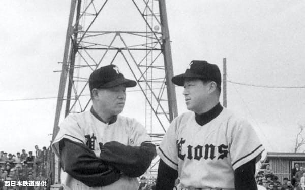 1951年、三原(左)は修から脩へと改名した(57年の西鉄監督時代、右は大下弘外野手)=西日本鉄道提供