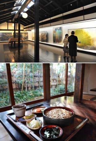 四季ごとに展示の絵画を入れ替える光が丘美術館(写真上)と同じ敷地内にある「そば処 桔梗家」は会津産のそば粉を自家製粉している