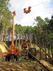 香美森林組合はオーストリア製の集材機械「タワーヤーダー」を導入した(高知県香美市)