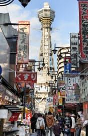 通天閣は高さ103m(大阪市浪速区)