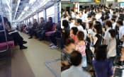 空席が目立つ出雲市内の通勤電車(左)と通勤客でごった返す都心の駅ホーム
