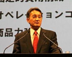 テレビ事業の再建策を説明するソニーの平井一夫社長兼CEO(12日午後、東京都港区)