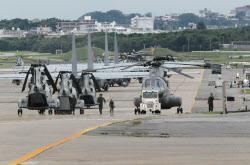 移設問題で揺れる米軍普天間基地(2月27日、沖縄県宜野湾市)