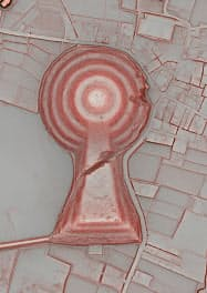 航空3次元測量で作製した箸墓古墳の立体地図=アジア航測・奈良県立橿原考古学研究所提供