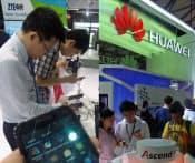 携帯電話の出荷台数で世界5位となった中興通訊(左)と通信会社向け設備世界2位の華為技術のライバル意識は、「モバイル・アジア・エキスポ」でも垣間見えた