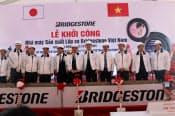 ブリヂストンが2日開いたタイヤ工場の起工式(ベトナム北部ハイフォン市)