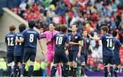 スペインを1-0で下し、喜ぶ日本イレブン=写真 佐光恭明