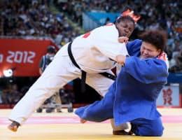 女子78キロ超級、決勝でキューバのオルティスに敗れた杉本=写真 佐光恭明