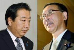 国会に入る野田首相(左)と、自民党役員会に向かう谷垣総裁(7日)=共同