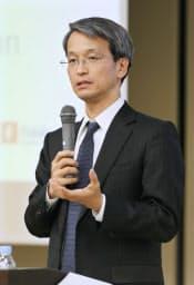 「ISA先進国イギリスからの教訓」について講演するフィデリティ退職・投資教育研究所の野尻哲史所長(10日、東京・大手町)