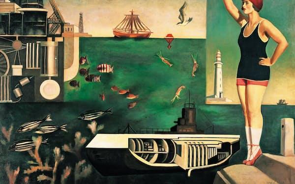 古賀春江「海」                                                         1929年、油彩・カンバス、130×162.5センチメートル、東京国立近代美術館蔵