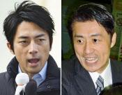 大阪・ミナミで街頭演説する小泉進次郎自民党青年局長(7日)=共同