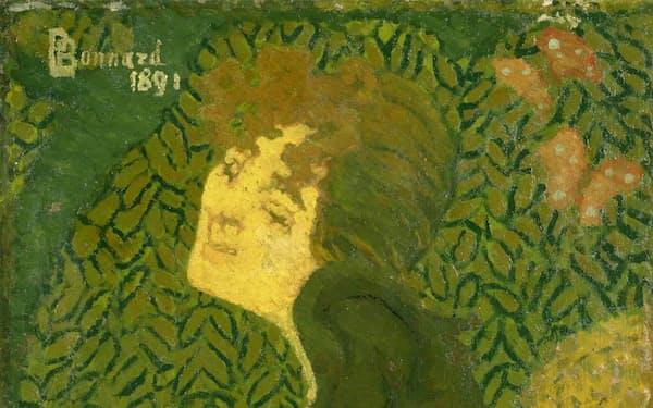 ピエール・ボナール「坐る娘と兎」                                                         1891年、油彩・カンバス、96.5×43cm、国立西洋美術館所蔵